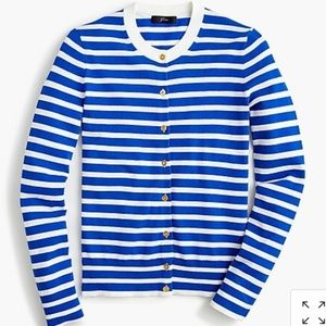 NWT J. Crew Cotton Jackie Striped Cardigan